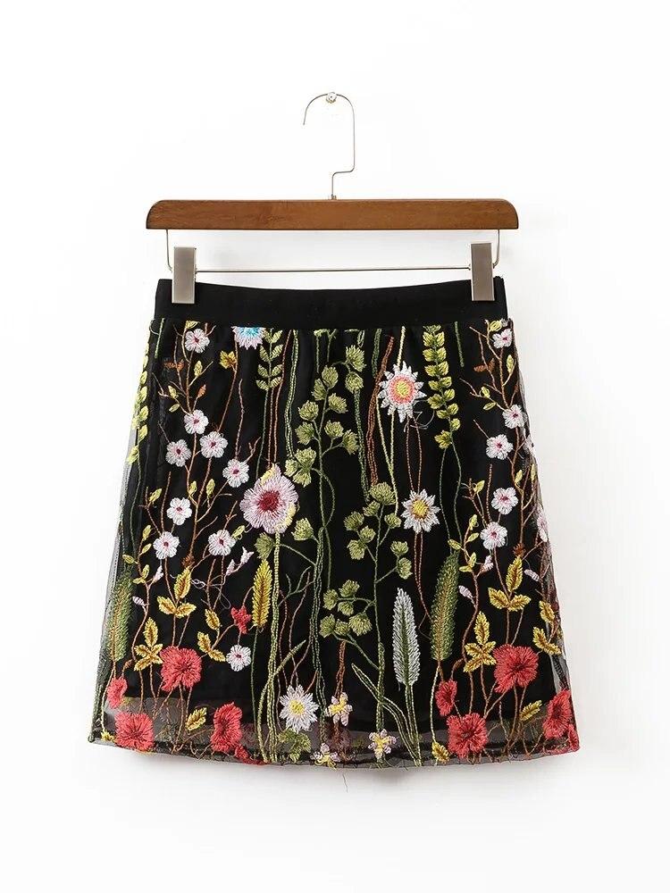 2017 WISHBOP NEW BLACK Flowers Embroidered Short Tulle Skirt Elastic Waist
