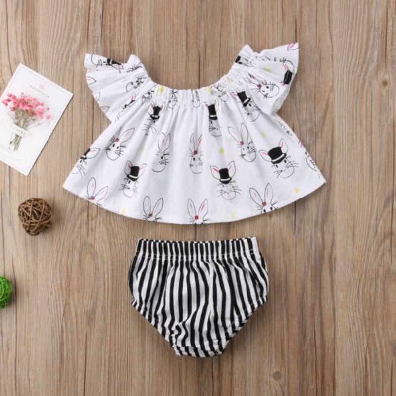 Пасхальные для маленьких девочек комплект одежды для новорожденных с плеча Топ Футболка Шорты Брюки наряд в полоску с рукавами-крылышками ...