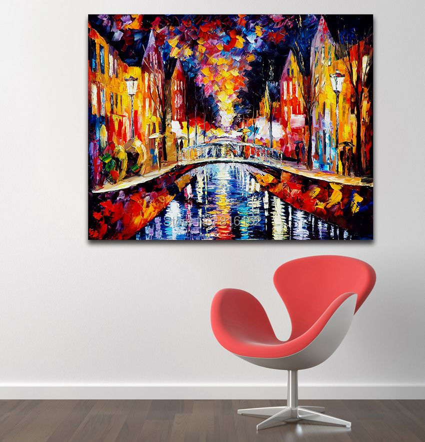 Modern palette knife painting painting charming birdge for Canvas mural painting