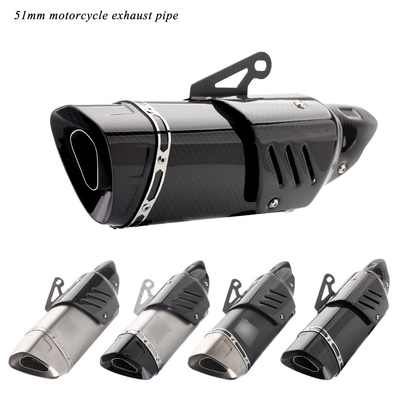 Universal Motorcycle Exhaust Muffler Tip Pipe DB Killer Modified 38mm 51mm Moto Tail Real Carbon Fiber
