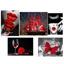 3D diy diamond Painting Cross Stitch Diamond Embroidery landscape red and black Diamond mosaic wedding decoration gift  RD2025