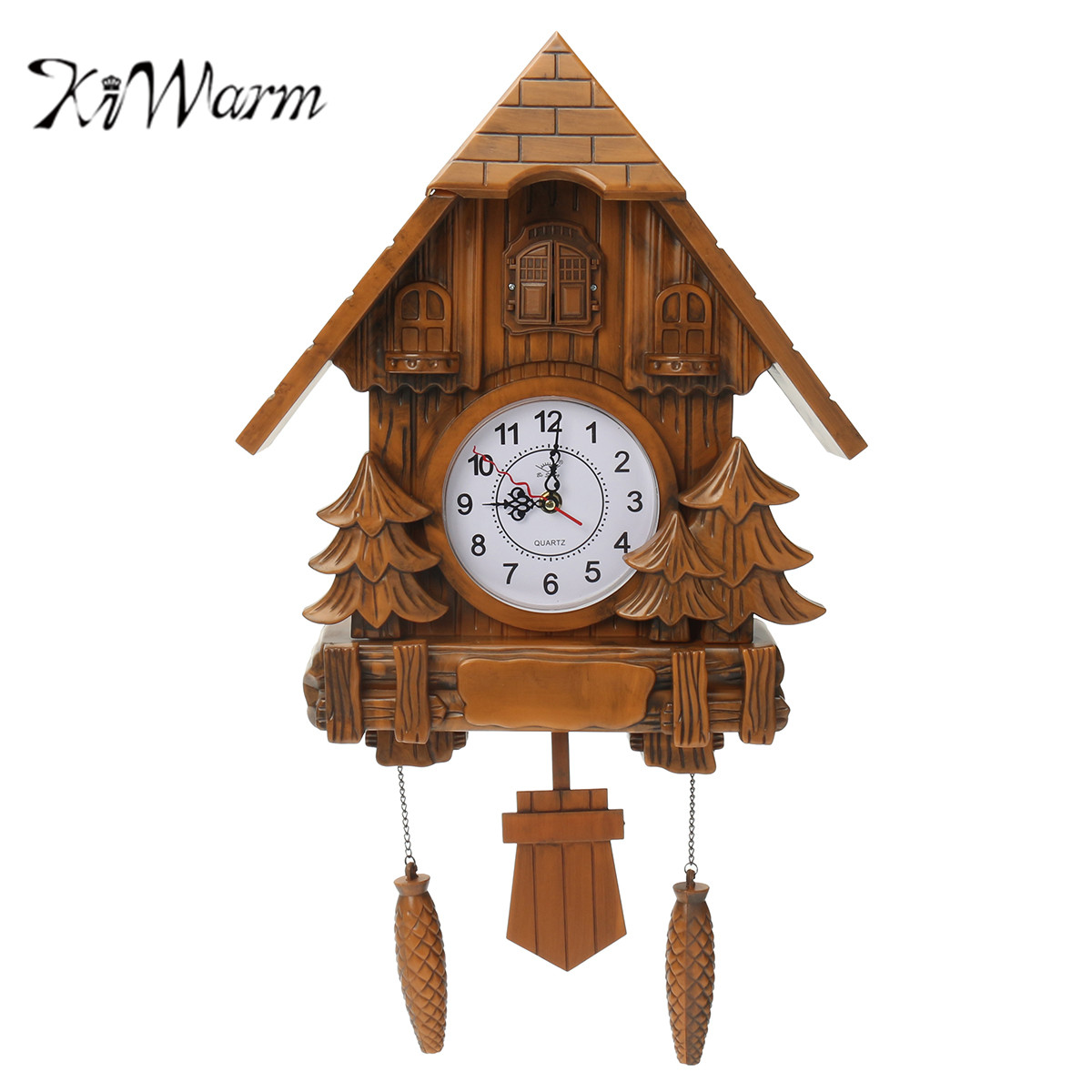 KiWarm Vintage Cuckoo Clock Forest Quartz Swing Wall Alarm Clock Handmade Crafts for Home Room Shop Hanging Decoration Gift