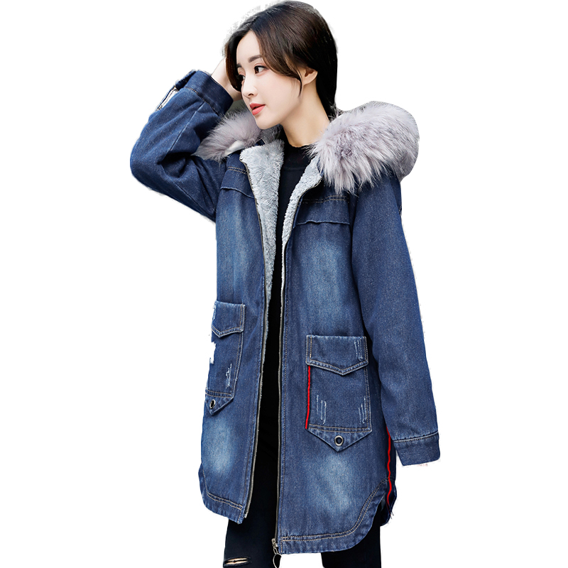 Large Faux Fur Collar Denim Jacket Women Winter Coat Thick Lamb Wool Cotton Padded Winter Parka 2017 New Slim Female Outerwear free shipping 2015 cotton padded jacket men s nick coat cotton padded jacket wool liner thick warm cotton denim outerwear