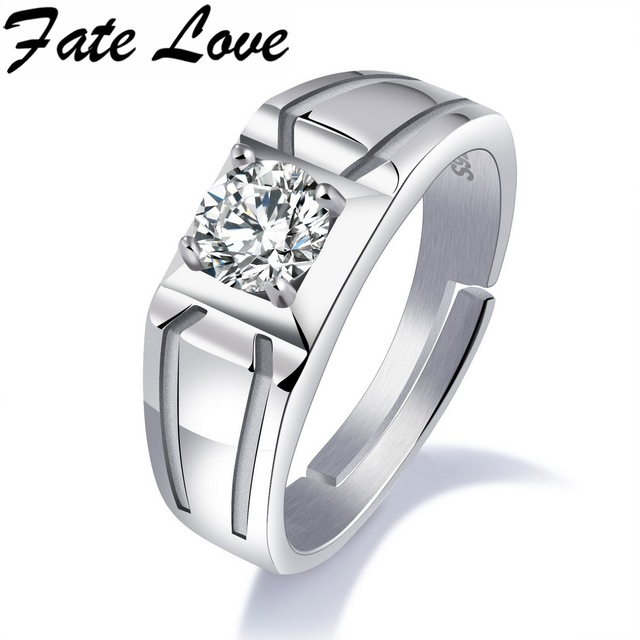 5a868b89755b Fate Love New Collection Trendy Wedding Bands Rings Man Woman 925 Sterling  Silver Jewelry Clear Cubic Zirconia Finger Ring FL004