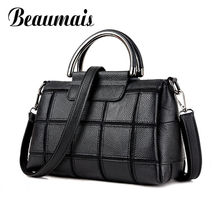 Beaumais Black Genuine Leather Bags For Women Patchwork Shoulder Bag Cow Leather Crossbody Bag For Ladies Desigual Bag DF0134