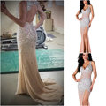 Free Shipping Luxury 2017 New Fashion Elegant Sexy Beaded Crystals Open Back Long Evening Dresses Shining Prom Dresses