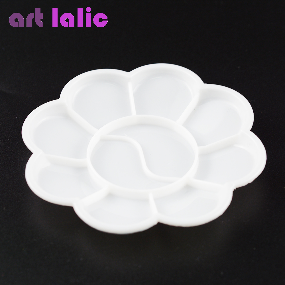 Artlalic 1pcs White Plum Blossom Liquid Color Painting Drawing Nail Art Palette Dish Gel Polish Design Manicure Nail Tools