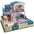13829 большой diy деревянный кукольный домик миниатюрная вилла большой кукольный дом СВЕТОДИОДНЫЕ фонари миниатюры для украшения игрушки девушки