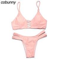 Cobunny Sexy Brazilian Bikini Women Swimwear Low Waist Swimsuit Leaf Print Bottom Beach Wear Bathing Suits