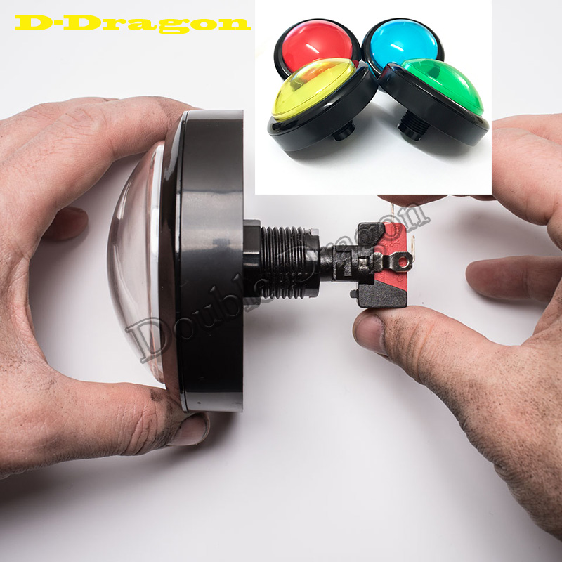 2PCS Big Dome Pushbutton 100mm Push Button Arcade Button Led Micro Switch Momentary Illuminated 12v Power Button Switch vase