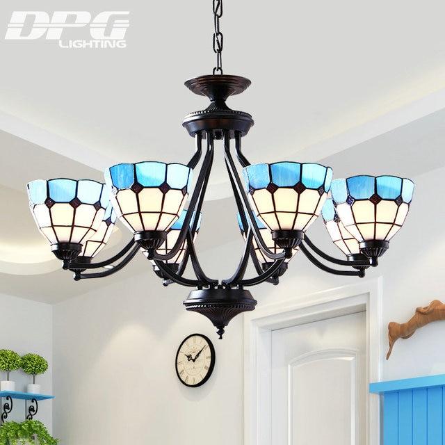Led Tiffany Style Antique Lamp Sconces Pendant Light Blue White Gl For Bedroom Living Room