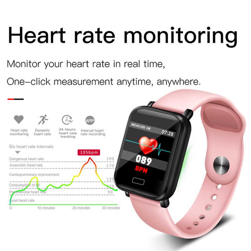 Ini Terbaru Wanita Gelang Pintar Monitor Denyut Jantung Olahraga Kebugaran Tracker Tahan Air Smart Band Pria Wanita untuk Android IOS Ponsel