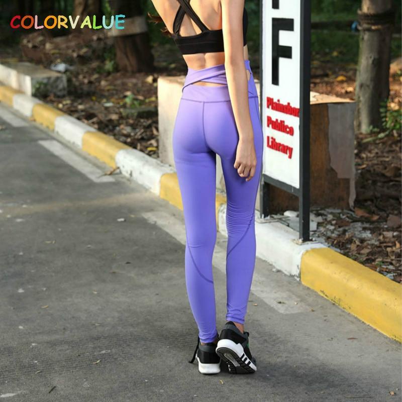 Colorvalue Back Cross Athletic Sport Leggings Women High Waist Hip Up Fitness Workout Leggings Flexible Training Yoga Pants