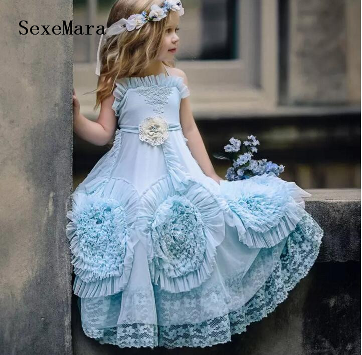 Flower     Girls     Dresses   For Weddings Ruffles Lace Tulle Backless Princess Children Birthday Party   Dresses   Custom Made