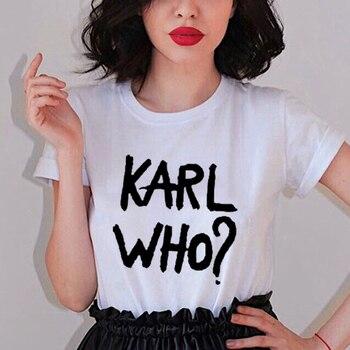 Moda Karl Hombres Mujeres Tops Tumblr Ladies Camiseta Amarilla