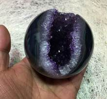 "3.1 ""AMETHYST DRUSE Sphere Kristal cluster, Bola kristal Penyembuhan, Mineral(China)"