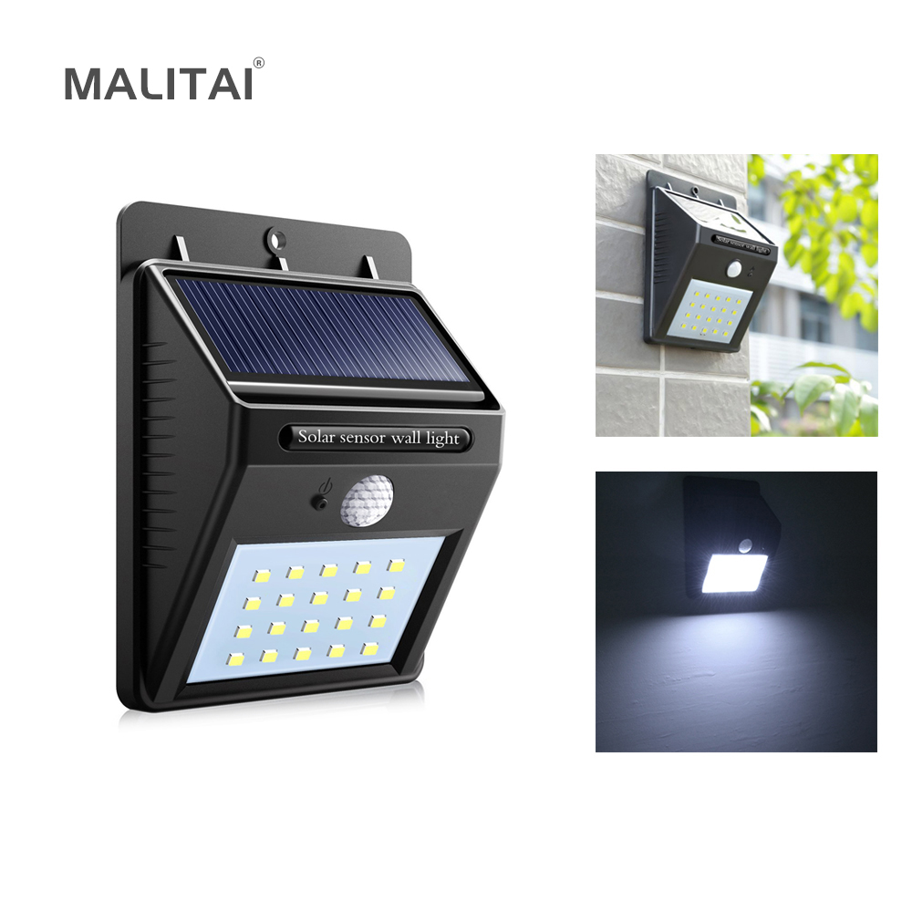 20 Led Solar Power Night Light Pir Motion Sensor Wall Lamp