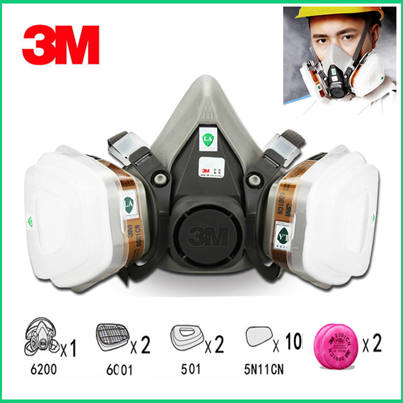 17in1 <font><b>3M</b></font> 6200 Half Facepiece Gas Mask Respirator Painting Spraying With <font><b>6001</b></font>/2091 Filter for Dust Mask image