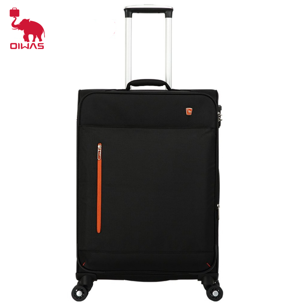 OIWAS 20 inch Men&Women Luggage Rolling with Spinner Wheel Customs Lock Trolley Hit Color Business Polyester Travel Bag Suitcase