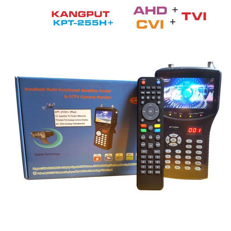 [Genuine] kpt 255h plus kpt 255+ sat finder hd test cctv camera lcd backlight button 4.3 inch DVB S/S2 signal test with av usb