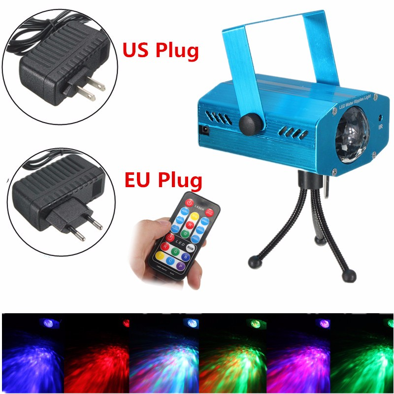 Water Ripples Lamp Sound Remote Control Strobe LED RGB Projector Laser Stage Light Disco Bar Club KTV Party Show Lighting Effect