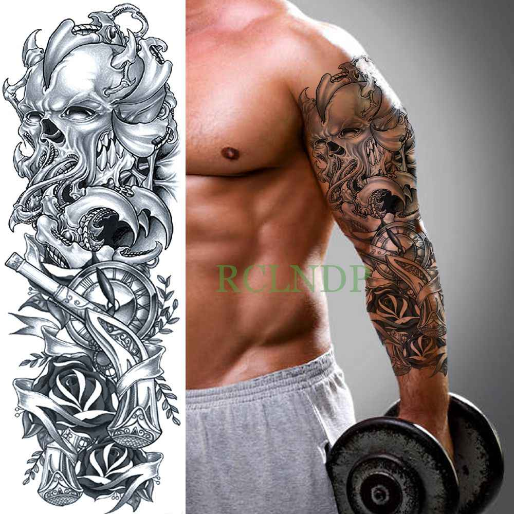 Waterproof Temporary Tattoo Sticker Skull Head Rose Clock Full Arm Fake Tatto Flash Tatoo Sleeve Large Size For Men Women Lady Aliexpress