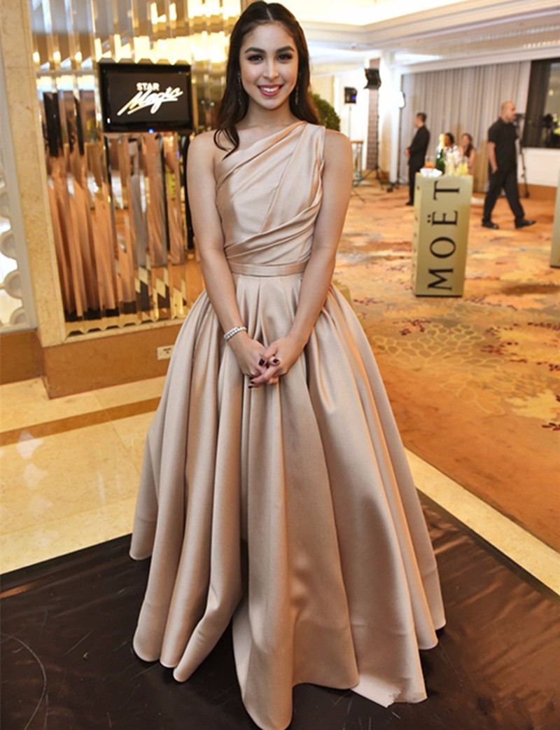 2017 New Long Formal Dress Elegant Champagne Off Shoulder Satin A Line  Floor Length Evening Dress Party Gown Vestido Festa a55b71186