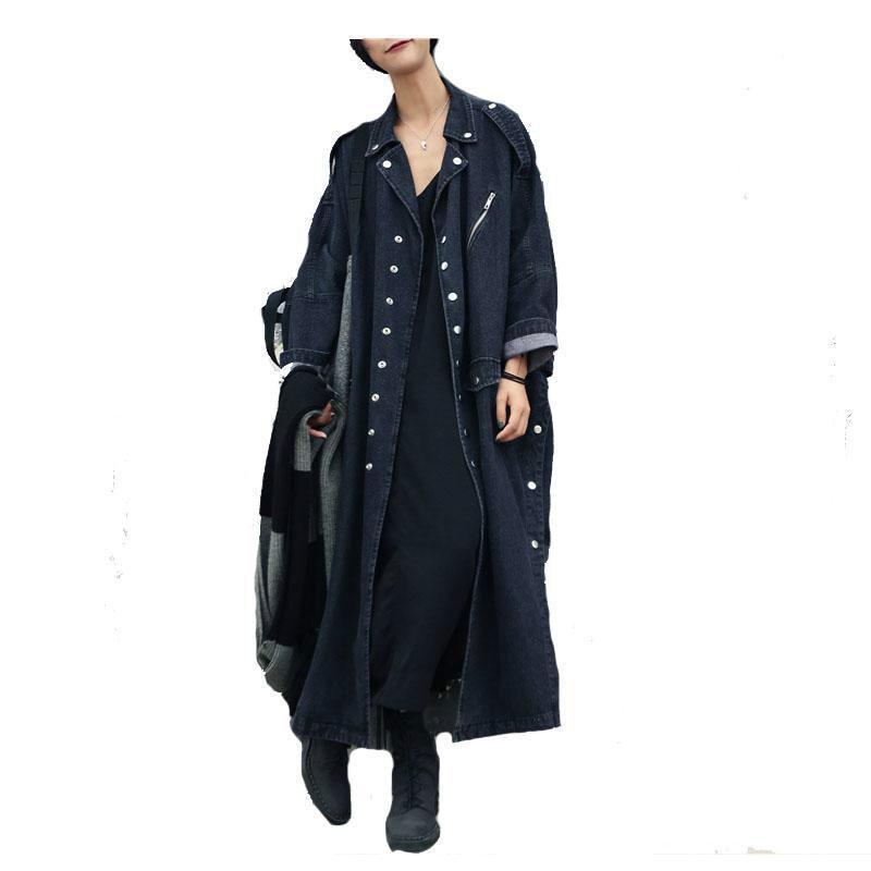2019 Female Overcoat Winter Autumn   Trench   Coats Women Trenchcoat Denim Coat Loose Jeans Long Coat Oversize Split Windbreaker