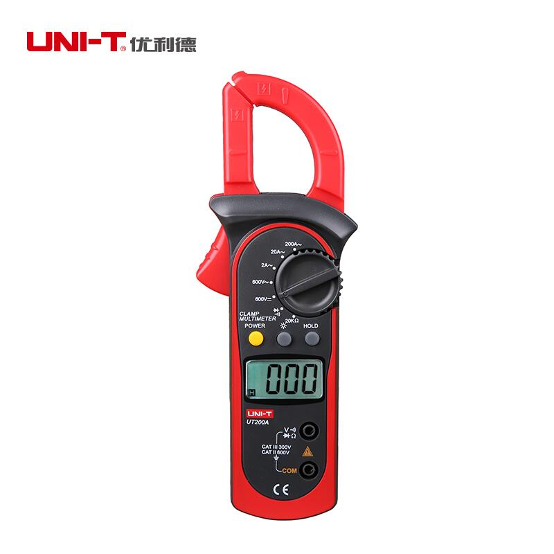 UNI T Digital UT200A Clamp Meter AC DC Multimeter 2000 Count Manual Range Voltmeter Ohmmeter Min AC 2A Diode tester LCD Backlig