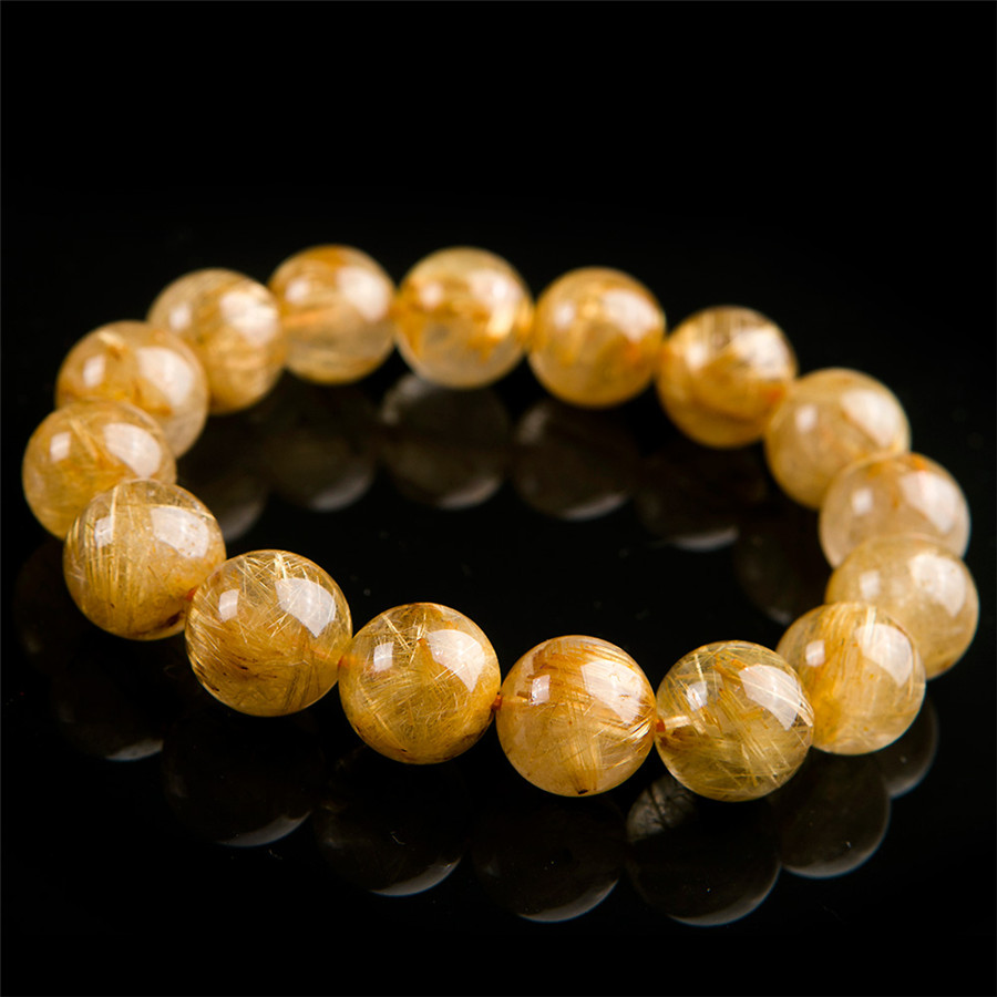 16mm Brazil Natural Rutilated Quartz Crystal Round Bead Stretch Charm Bracelets For Women16mm Brazil Natural Rutilated Quartz Crystal Round Bead Stretch Charm Bracelets For Women