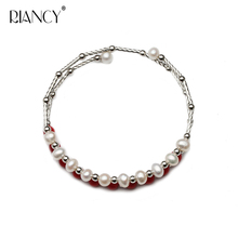 Fashion Charm Double layer Bracelet Natural Freshwater white Pearl Jewelry for Women wedding gift
