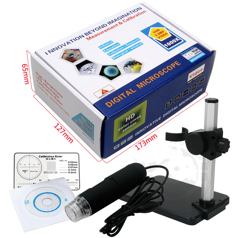 1000 times USB electron microscope, high definition digital microscope, camera and video recorder, lifting bracket industry mobile and high definition video streams