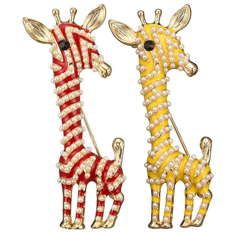 New Fashion Rhinestone Girafa Do Vintage Broches Para As Mulheres Moda Jóias Animal Bonito Broche Pin 2 Cores Escolha Presente de Natal