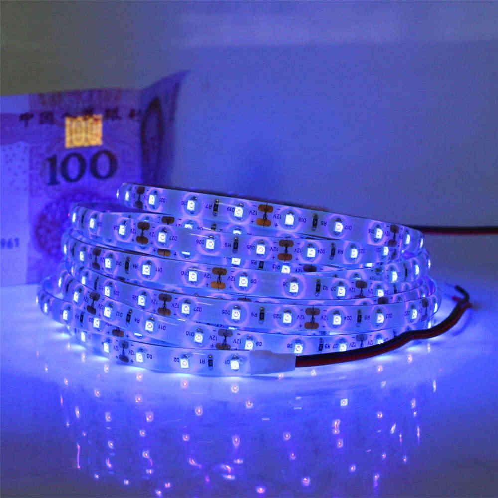 Высокое качество SMD3528 УФ Светодиодные ленты DC12V 5 м 60 Светодиодный s/M 0,5 HDMI кабель 1 м 2 м 3 м 4 м 5 м супер яркий 395-405nm ультрафиолетового пурпурного Светодиодная лента лампа