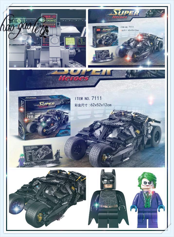 hao gao le 7111 Building Blocks Super Heroes Batman Chariot The Tumbler Batmobile Batwing Joker Figures Bricks Figure 78023