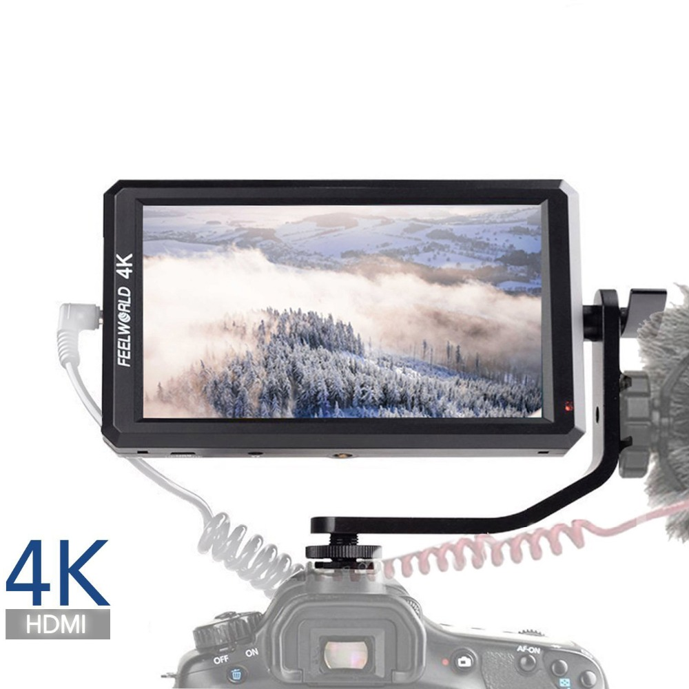 Feelworld F6 Full HD On-Camera Field Monitor 5.7 Inch with Tilt Arm 4K HDMI Input DC 8V Power Output for DSLR Mirrorless Camera new aputure vs 5 7 inch 1920 1200 hd sdi hdmi pro camera field monitor with rgb waveform vectorscope histogram zebra false color
