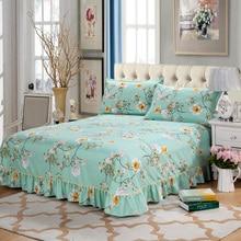 1 piezas de poliéster de algodón estilo coreano hoja impresa hoja plana ropa de cama doble reina completo tamaño King