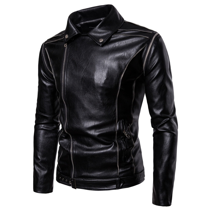 2018 New Men's Locomotive Leather Detachable Sleeves Jackets Casual Men PU Leather Jacket Clothing for Male Motorcycle Autumn-in Jackets from Men's Clothing    2