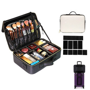 Image 2 - Professional Make Up Case Large Capacity Storage Handbag Travel Insert Toiletry Makeup bag Leather Clapboard Cosmetic Bag