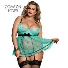 Comeonlover Sex Exotische Transparant Nachtkleding Sexy Volledige Figuur Stip Beugel Schort Babydoll Sexy Lingerie Plus Size RI80198