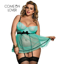 Comeonlover сексуальное экзотическое прозрачное ночное белье, сексуальная полноразмерная фигура в горошек, фартук на косточках, Babydoll, сексуальное нижнее белье размера плюс, RI80198