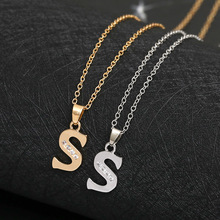 26 English letters S fashion lucky Monogram charm necklace alphabet Initial sign mother friend family name gift jewelry