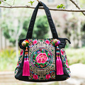 National Embroidery handbag Handmade peony Coins Embroidered Shoulder Messenger Bag Women's Big Canvas tote travel Shopping Bag