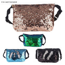 THINKTHENDO Fashion New Women Reversible Sequins Waist Fanny Pack Belt Bag  Girls MUltifunction Phone Pouch Travel Mini Purse 3ab92e4e892a