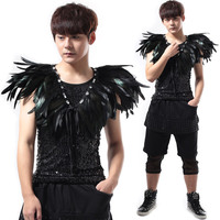 Fashion Circular Colla Jazz Dance Costumes Hip Hop Dancing Feather Tops Clothing Man Stage Club Performance Black Vest DWY500