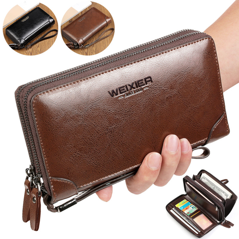 LEINASEN High Capacity Double Zipper Long Clutch Wallets Fashion Business Men Clutch Bag Split Leather Card Holder Coin Purse 25 vintage genuine leather wallets men fashion cowhide wallet 2017 high quality coin purse long zipper clutch large capacity bag