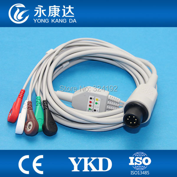 2pcs/pack Zoll  6 pin ECG Cablewith 5lead/ AHA/Snap No resistance