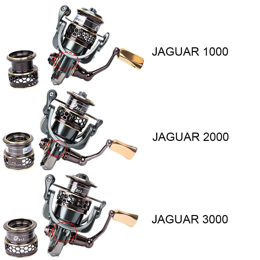 Tsurinoya Jaguar Spinning Fishing Reels 9BB 5.2:1 Double Metal Spool Left/Right Hand Sea Lure Reel 1000 2000 3000