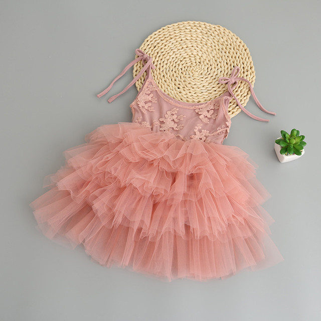 9e7a594493b Princess Party Dress Cute Baby Summer Straps Dress 2017 New Girl Tulle TuTu  Dress Childrens Belle