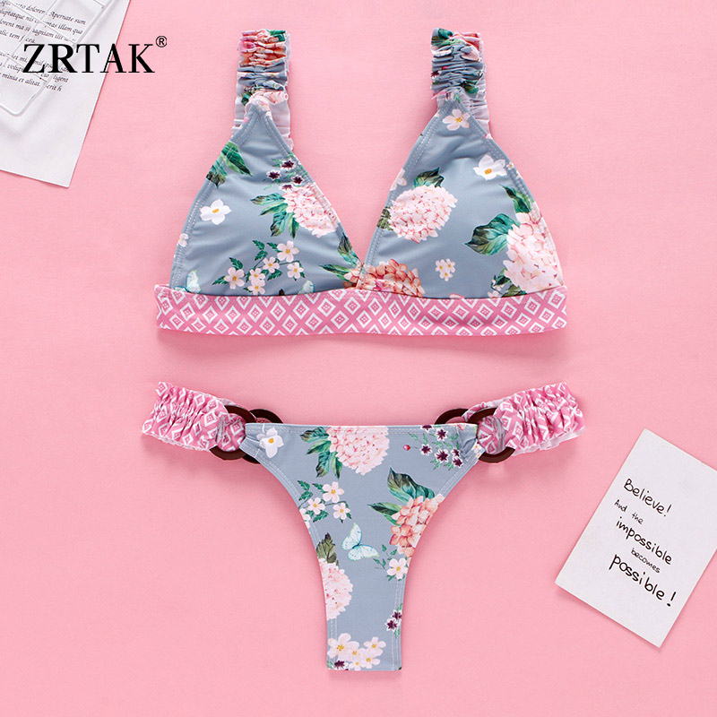 Zrtak Ruffle Bikini Push Up Floral Swimsuit Female Bathing Suit Women Print Swimwear Deep V Biquinis Feminino Beach Wear Bikinis